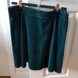 H&M Velour Emerald Green Skater Skirt
